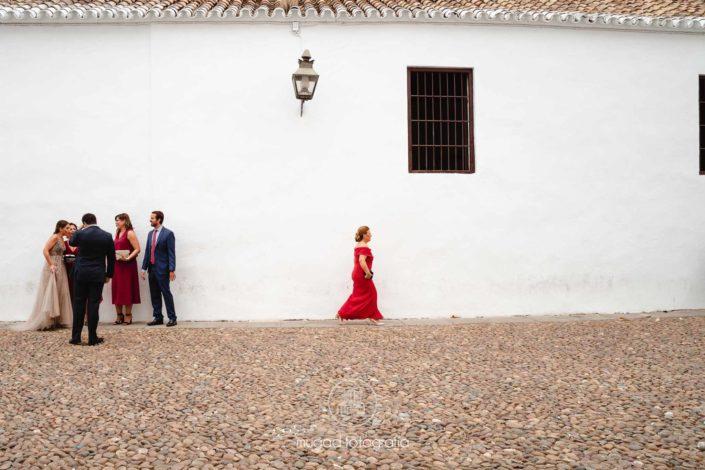 Plaza capuchinos madrina vestido rojo